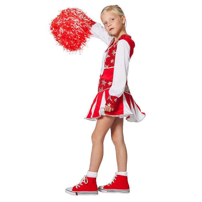 Kinder Kostum Cheerleader Rot Weiss Gr 152 Tanzmariechen