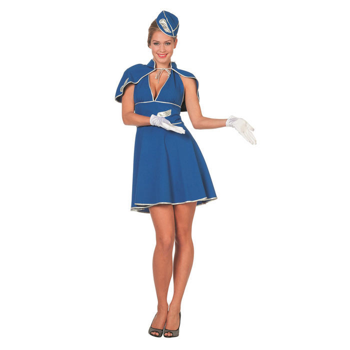 SALE Damen-Kostüm Stewardess, blau, Gr. 36
