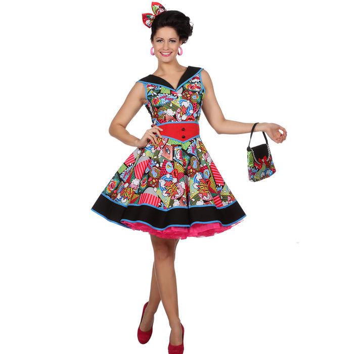 NEU Damen-Kostüm Kleid Pop-Art, Gr. 44 - 50er   60er-Jahre-Kostüme ... cf5c688320