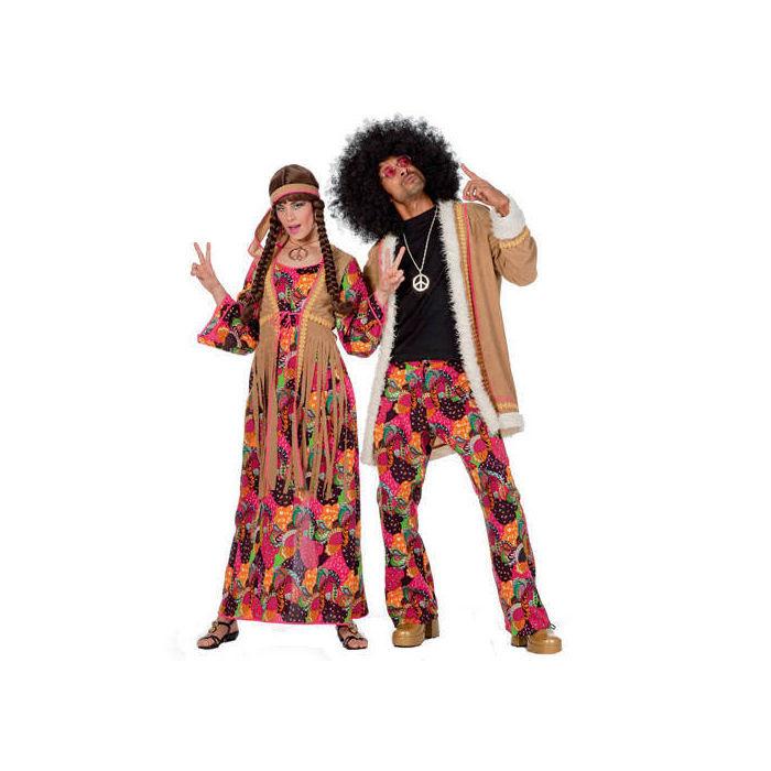 damen kost m hippie kleid bunt gr 52 flower power. Black Bedroom Furniture Sets. Home Design Ideas