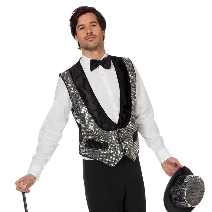 Herren Weste Pailletten Silber Gr 58 60 Hollywood Kostume