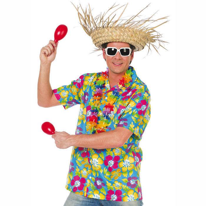 Herren-Kostüm Hawaii-Hemd, blau Gr. XL - Hawaii, Baströcke