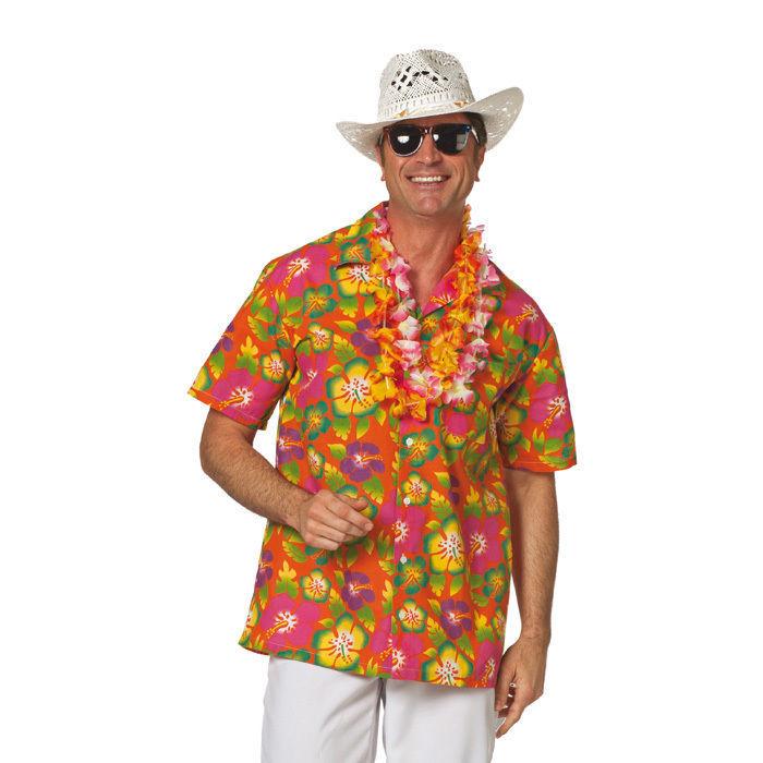 Herren Kostum Hawaii Hemd Orange Gr Xxl Bastrocke