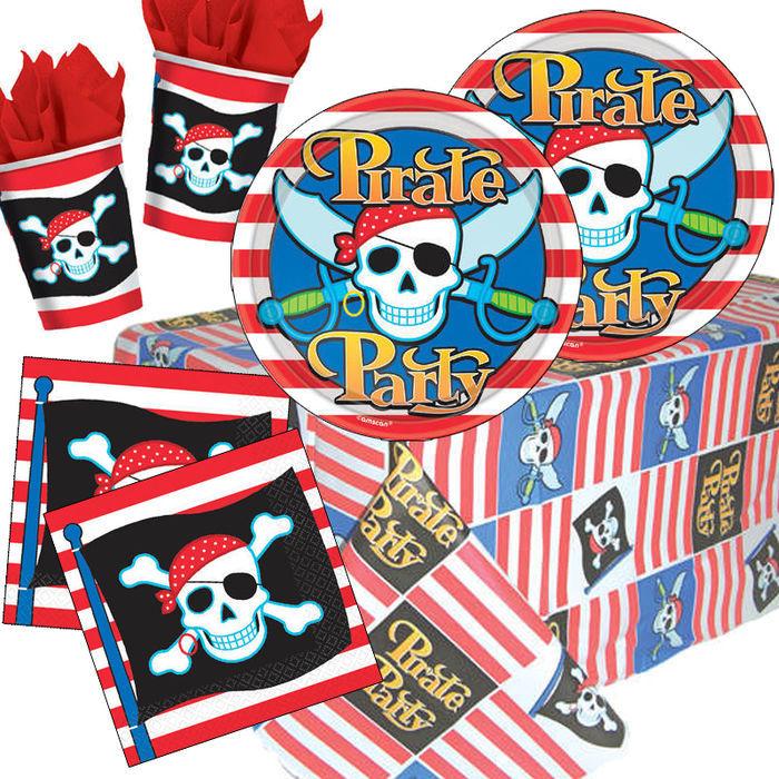 Party set basic f r 8 g ste pirat party sets jungen for Kinder party set