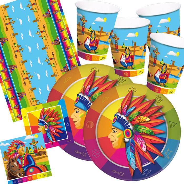 Party set basic f r 16 g ste indianer party sets jungen for Kinder party set