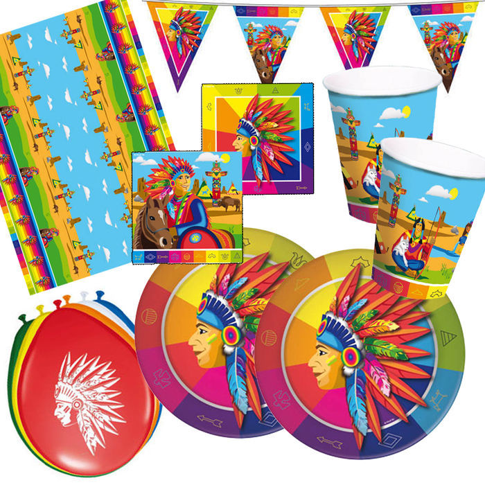 Party set premium f r 16 g ste indianer party sets for Kinder party set