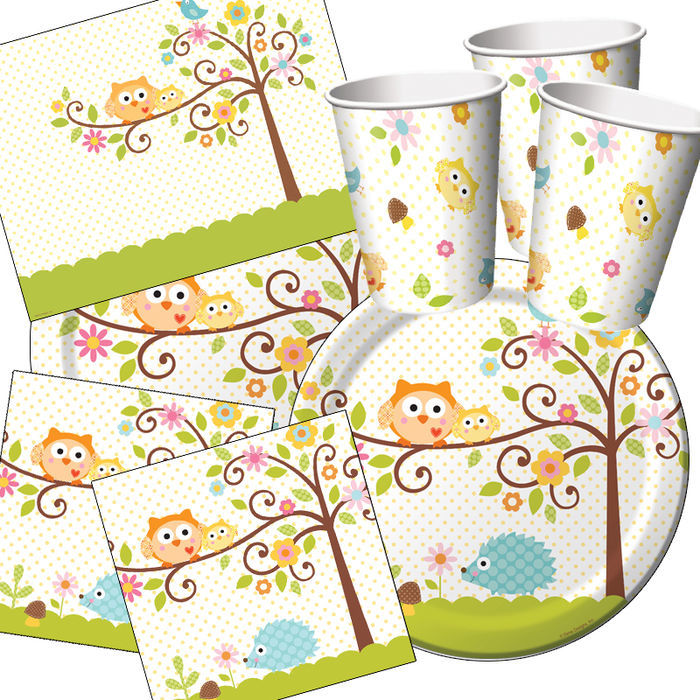 Party set basic f r 16 g ste eulenparty party sets for Kinder party set