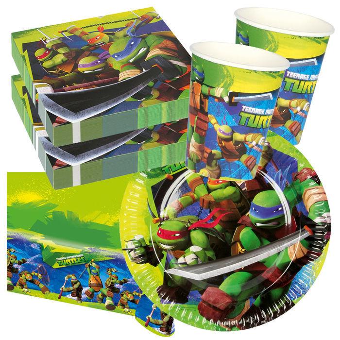 Party set basic f r 8 g ste ninja tutrles party sets for Kinder party set