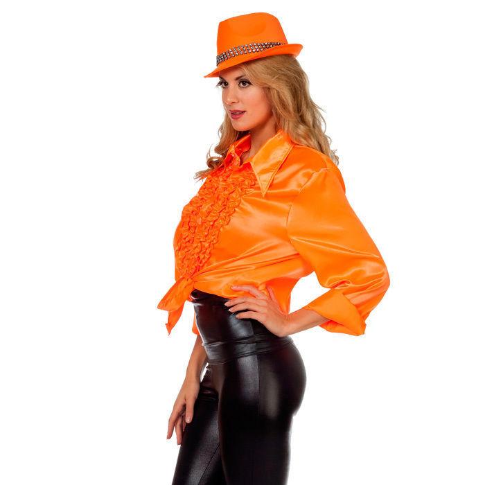 Rüschenhemd orange Gr. 64 Große Größen für Herren Kostüme