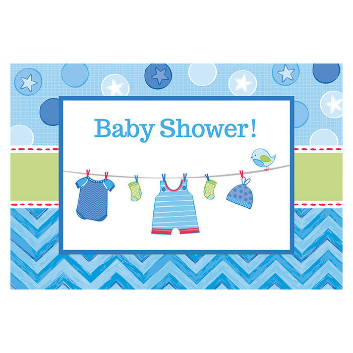 Einladungskarten Shower Baby Boy, 8 Stk.