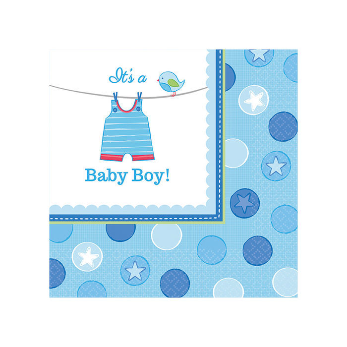 Servietten Shower Baby Boy, 25x25 cm, 16 Stk.