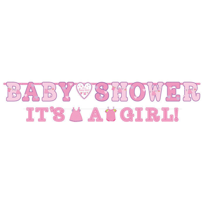 Girlande Happy B.day Shower Baby Girl ca. 2,4m