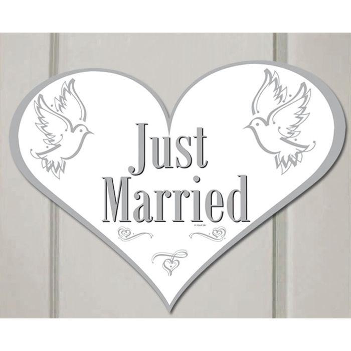 ca 47 x 35 cm Dekoration Hochzeit Türschild Just Married aus Pappe