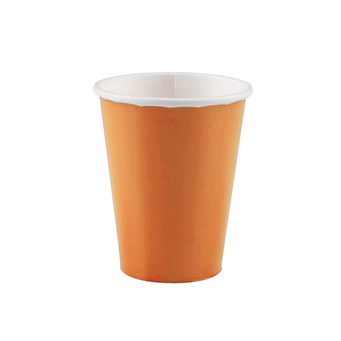 Becher, recycelbar aus Pappe, orange, 266 ml, 8 Stk.