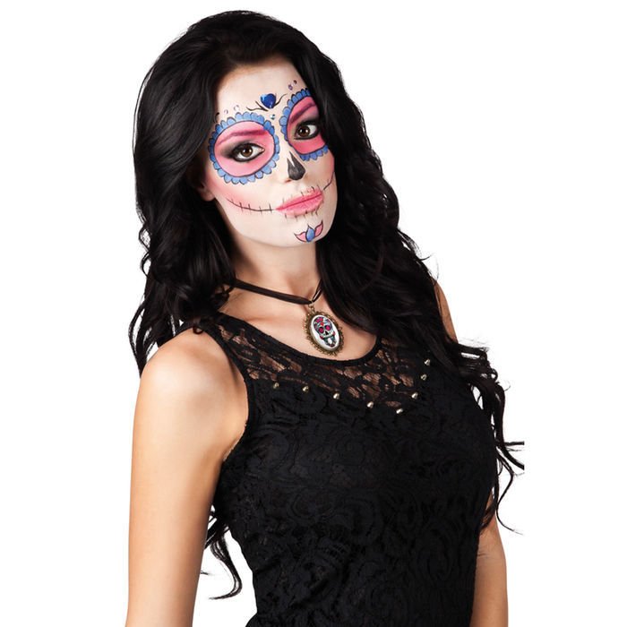 Kette Totenkopf-Medaillon Day of the Dead Bild 2