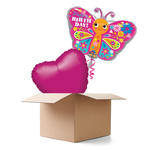 Ballongr�sse Happy B.day Schmetterling, 2 Ballons