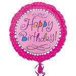 Folienballon Happy Birthday pink, 45 cm