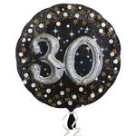 NEU Folienballon Sparkling Birthday 30th, 81 cm