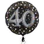 NEU Folienballon Sparkling Birthday 40th, 81 cm