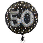 Folienballon Sparkling Birthday 50th, 81 cm