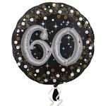 NEU Folienballon Sparkling Birthday 60th, 81 cm