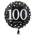 Folienballon Sparkling Birthday 100th, 45 cm