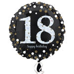 Folienballon Sparkling Birthday 18th, 45 cm