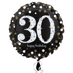 Folienballon Sparkling Birthday 30th, 45 cm
