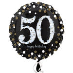 Folienballon Sparkling Birthday 50th, 45 cm