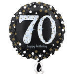 Folienballon Sparkling Birthday 70th, 45 cm