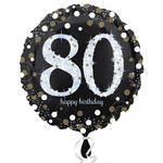 Folienballon Sparkling Birthday 80th, 45 cm