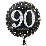 NEU Folienballon Sparkling Birthday 90th, 45 cm