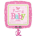 Folienballon Welcome Baby Girl, 45cm