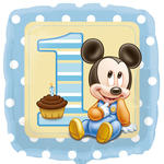 Folienballon Mickey 1. Birthday Boy, 45 cm