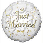 Folienballon Just Married Goldschrift, 45 cm
