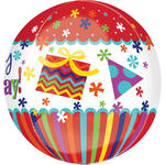Folienballon Happy Birthday, Orbz, 38x40cm
