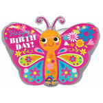 Folienballon Happy B.day Cute Butterfly, 45 cm