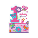 Einladungskarten Sweet 1. Birthday Girl 8 Stk