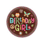 SALE Teller Hippie Birthday Girl, 8 Stk., Ø 23 cm