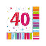 Servietten Radiant Birthday 40, 16 Stk.