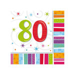Servietten Radiant Birthday 80, 16 Stk.