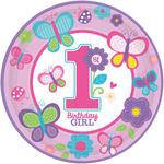 Teller Sweet 1. Birthday Girl Ø 23 cm, 8 Stück