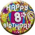 SALE Button Happy 8th Birthday 55 mm
