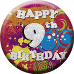 SALE Button Happy 9th Birthday 55 mm
