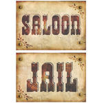 Wand-Deko Cut Out Saloon & Jail 42x30cm beidseitg