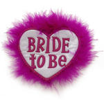 Button Bride to Be, Herzform mit Marabou 1 Stk