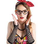 Brille Rockabilly, schwarz mit Brillies