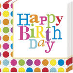Servietten Happy Birthday Punkte, 20 St�ck