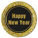 Teller Happy New Year, gold, Ø 23 cm, 8 Stk.