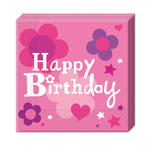 Servietten Happy Birthday Girl, 33x33cm, 20 St